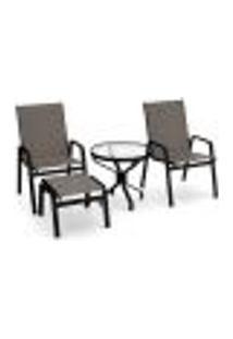 Conjunto 2 Cadeiras Mesa Juquey Alumínio Preto Tela Fendi