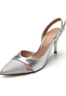 Scarpin D.Dress Recortes Metalizado Prata
