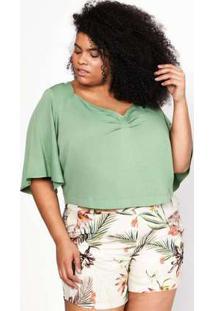 Blusa Almaria Plus Size Pianeta Cropped Verde Verde