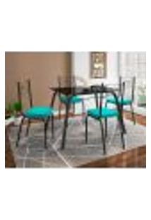 Conjunto De Mesa Com 4 Cadeiras Lotus Preto Fosco Com Azul