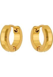 Brinco Argola De Aço Inox Tudo Joias Dourado Modelo Chanfrado - Unissex-Dourado