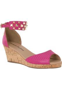 Sandália Plataforma Com Rebites Em Couro- Pink & Marrom