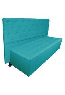 Cabeceira Mais Calçadeira Solteiro Juliana 90Cm Para Cama Box Suede Azul Turquesa - Ds Estofados