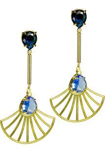 Brinco Kumbayá Haste Longa E Leque Arabesco Cristal Oval Semijoia Banho De Ouro 18K Cristal Azul