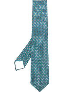 Kiton Gravata De Seda Com Desenho Geométrico - Azul