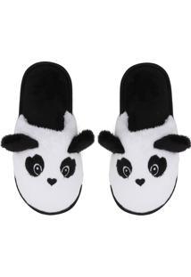 Pantufa Cor Com Amor Panda Branca