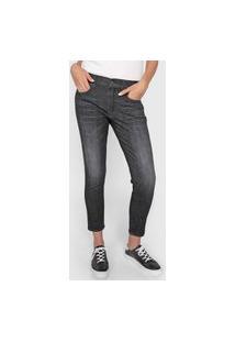 Calça Cropped Jeans Polo Ralph Lauren Skinny Estonada Preta