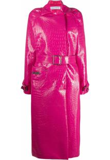 Saks Potts Trench Coat Caliente Com Efeito Pele De Crocodilo - Rosa