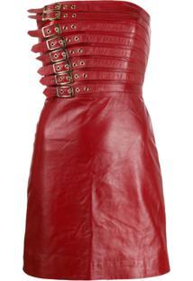 Manokhi Vestido Com Detalhe De Fivela - Vermelho