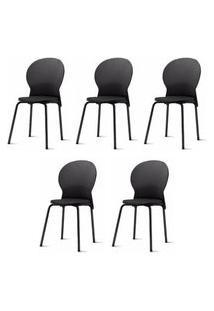 Kit 5 Cadeiras Luna Preta - 57705 Preto