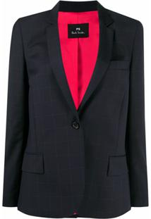 Ps Paul Smith Blazer De Alfaiataria Com Estampa Xadrez - Azul