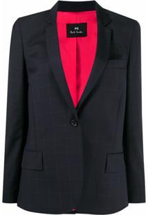 Ps Paul Smith Blazer De Alfaiataria Com Estampa Xadrez - Azul