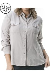Camisa Jeans Plus Size Confidencial Extra Color Melissa Cinza - Kanui