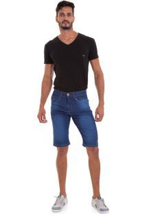 Bermuda Masculina Versani Jeans Escuro Básico