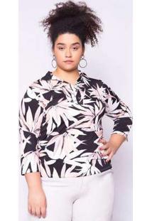 Blusa Almaria Plus Size Ela Linda Estampada Rosa
