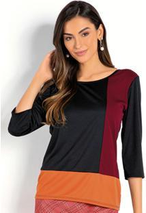 Blusa Tricolor Com Recortes