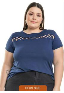 Blusa Com Recortes Azul Miss Masy Plus