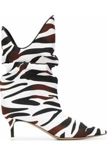 The Attico Ankle Boot Com Estampa De Zebra - Marrom