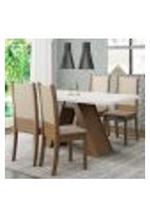 Conjunto Sala De Jantar Madesa Kiara Mesa Tampo De Madeira Com 4 Cadeiras - Rustic/Branco/Crema/Bege