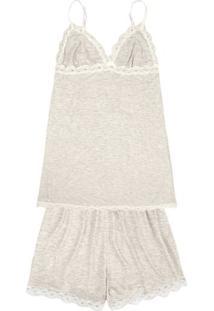 Pijama Curto Feminino Com Renda