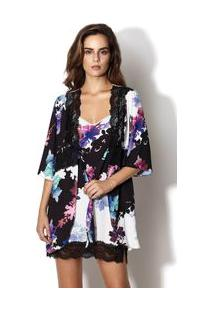Robe Estampa Floral Night Preto