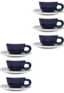 Conjunto 12Pçs Xícaras De Café Oxford C/Pires Mail Order Moon Celeste Azul