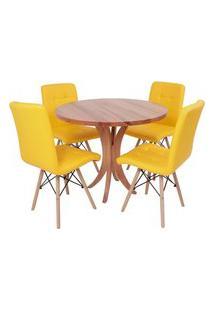 Conjunto Mesa De Jantar Tampo De Madeira 90Cm Com 4 Cadeiras Gomos - Amarelo