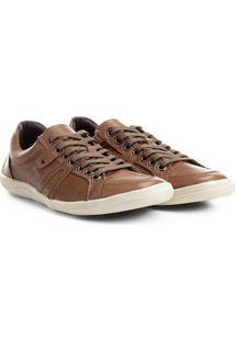 Sapatênis Couro Shoestock Ilhós Masculino - Masculino-Marrom Claro