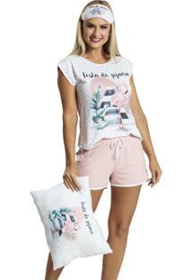 Pijama Recco Curto Malha Touch Viscose Rosa - Tricae