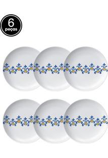 Conjunto 6Pçs Pratos Rasos Germer Canvas Branco