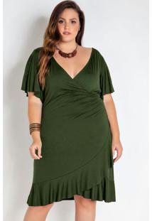 Vestido Plus Size Envelope Com Babado Verde