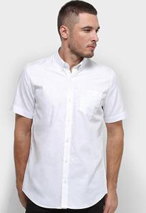 Camisa Manga Curta Lacoste Lisa Masculina - Masculino-Branco