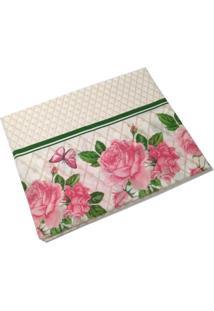 Toalha De Mesa Teka Quadrada-Estampa Floral -Coleção Basic