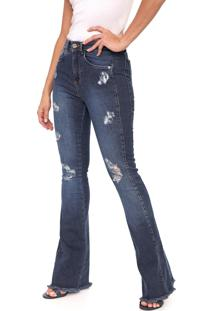Calça Jeans Indigo Jeans Flare Destroyed Azul