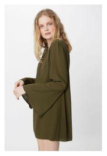 Vestido Cadarço Costas Verde Militar