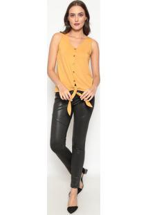 Blusa Com Botões & Amarração - Amarelo Escuro - Dedidedika