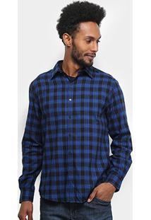 Camisa Ellus Plot Wool Xadrez Manga Longa Masculina - Masculino-Azul Royal