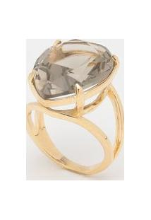 Anel Em Cristal Banhado A Ouro 18K- Cinza Claro & Douradkumbaya