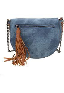 Bolsa Feminina Transversal Arara Dourada - H406 Azul