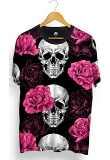 Camiseta Bsc Full Print Skull Pink Rose - Masculino-Preto