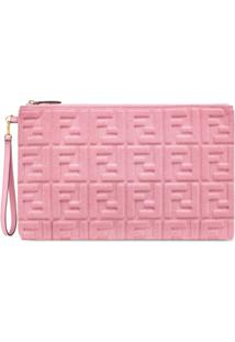 Fendi Clutch Com Padronagem Ff - Rosa