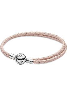 Bracelete De Couro Rosa Com O Fecho Redondo