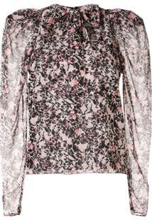 Giambattista Valli Floral Pussy-Bow Blouse - Rosa