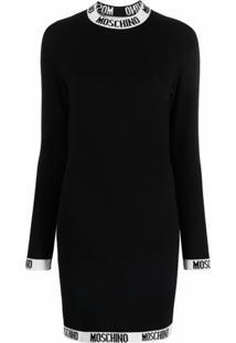 Moschino Suéter De Tricô Com Padronagem De Logo - Preto