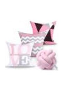 Capa De Almofada Para Cama Love Rosa Estampada Decorativa Kit 3 Capas 45Cm X 45Cm + Almofada Nó Escandinavo