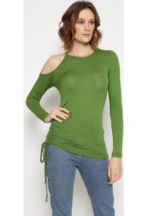 Blusa Assimã©Trica Com Vazado - Verde - Sommersommer