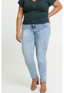 Calça Jeans Skinny Bolsos Plus Size Razon