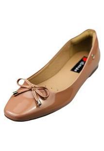 Sapatilha Bico Quadrado Love Shoes Bailarina Confort Básica Verniz Laço Nude