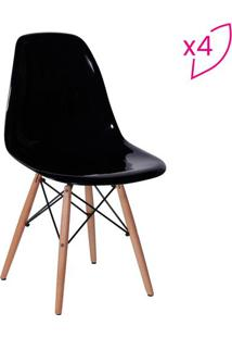 Jogo De Cadeiras Eames Dkr- Preto & Madeira- 4Pã§S