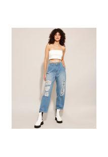 Calça Slouchy Jeans Destroyed Cintura Super Alta Sawary Azul Médio